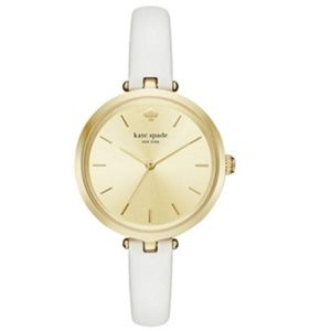 Kate Spade Watch: Gold Dial & White Leather Band